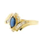 Estate Vintage Ladies 14K Yellow Gold Diamond & Sapphire Marquise Ring