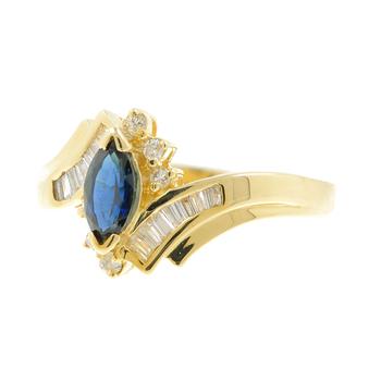 Ladies Vintage Estate 14K Yellow Gold Blue Marquise Sapphire Gemstone & Diamond Bypass Ring