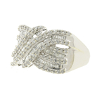 Vintage Classic Estate Ladies 10K White Gold Diamond Bypass Ring - 1.50CTW