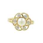 Vintage Classic Estate Ladies 10K Yellow Gold Cultured Pearl Diamond Ring