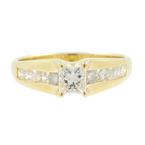 Estate 14K Yellow Gold Ladies Princess Cut Diamond Engagement Ring - 0.85CTW