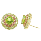 Vintage Estate 14K Yellow Gold Peridot Rose Quartz Stud Push Back Earrings