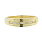 Vintage Classic Estate Men's 14K Yellow Gold Diamond Ring Band - 0.20CTW