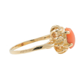 Estate Vintage Ladies 10K Yellow Gold Coral Cabochon Cocktail Ring Size 2.5