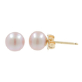 Vintage Estate 14K Yellow Gold Cultured Lilac Pearl Push Back Earrings Studs