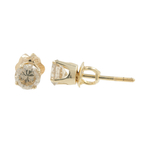 Estate 14K Yellow Gold Round Cut C1 Diamond Push Back Earrings Studs - 0.50CTW
