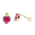 Estate Vintage Ladies 10K Yellow Gold Red Spinel Heart Stud Earrings