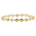 Ladies Vintage Classic Estate 14K Yellow Gold Orange Citrine Bracelet - 7 inch