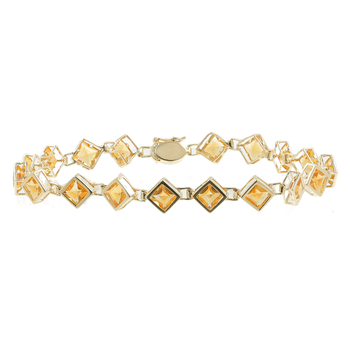 Ladies Vintage Estate 14K Yellow Gold Orange Citrine Gemstone Bracelet - 7 inch