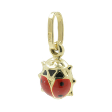 Vintage Classic Estate 14K Yellow Gold Lady Bug Enamel Pendant/Charm - 18MM