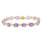 Ladies Vintage 14K Yellow Gold Oval Cut Amethyst Gemstone Bracelet -  7 inch