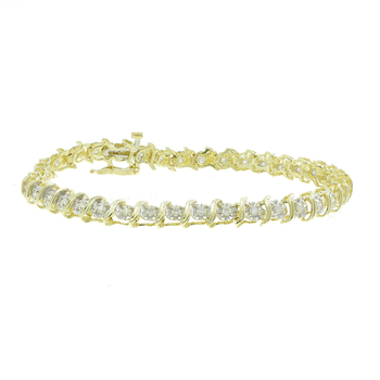 Ladies Vintage Classic Estate 10K Yellow Gold Diamond Tennis Bracelet - 0.78CTW
