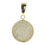 Rare Vintage Estate 10K Yellow Gold Bezel Pendant 1936 Buffalo Nickel Coin