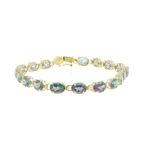 Estate Ladies 14K Yellow Gold Oval Mystic Topaz Gemstone 7 inch Bracelet