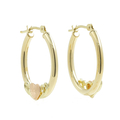 Vintage Classic Estate 10K Yellow Gold Hoop Heart Saddle Back Earrings - 20MM
