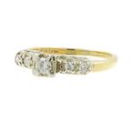Vintage Estate Ladies 14K Two Tone Gold Diamond Engagement Ring - 0.35CTW