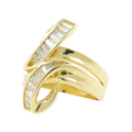 Vintage Classic Estate Ladies 14K Yellow Gold Zirconia Bypass Cocktail Ring