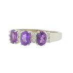 Vintage Classic Estate Ladies 14K White Gold Oval Purple Amethyst Diamond Ring