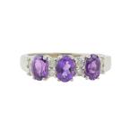 Vintage Classic Estate Ladies 14K White Gold Oval Purple Amethyst Diamond Ring