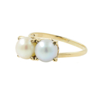 Classic Vintage Estate Ladies 14K Yellow Gold Cultured Pearl Cocktail Ring