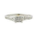 Vintage Classic 10K White Gold Princess Cut Diamond Wedding Ring Duo Set 0.40CTW