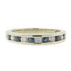 Estate Men's 14K White Gold Blue Spinel Diamond Ring Band