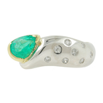 Vintage Estate Ladies 14K White & Yellow Gold Green Quartz Diamond Cocktail Ring