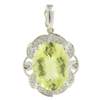 Vintage Estate Classic Ladies 14K White Gold Oval Peridot Diamond Ornate Pendant