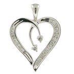 Ladies Classic Estate 10K White Gold Natural Diamond Heart-Shaped Pendant - 25MM