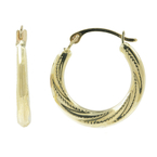 Vintage Classic Estate Ladies 10K White Gold Hoop Earrings - 20MM