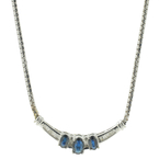 "Vintage Estate 10K White Gold Diamond Blue Spinel 17.5"" Flat Chain Necklace"