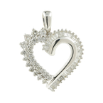 Vintage Estate Ladies 18K White Gold Natural Diamond Heart Pendant - 0.92CTW