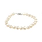 "Classic Ladies Estate 14K White Gold White Pearl Strand 7"" Bracelet"