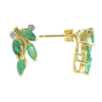 Vintage Estate 14K Yellow Gold Emerald Marquise BirthStone Stud Earrins- 1.04CTW