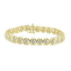 "Classic Ladies 14K Yellow Gold Natural Diamond 8"" Tennis Bracelet - 1.12CTW"