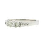 Classic Ladies 14K White Gold Three Stone Princess Cut Diamond Engagement Ring