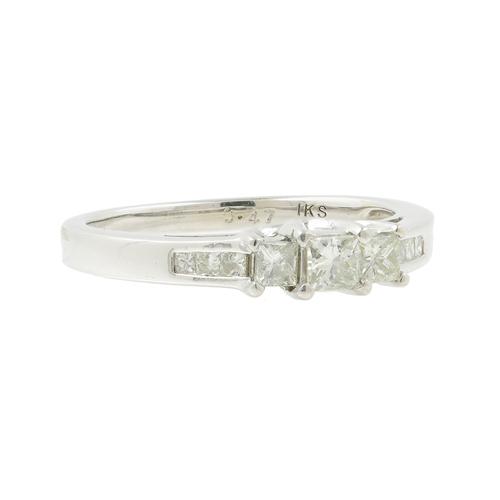 Classic Ladies 14K White Gold Three Stone Princess Cut Diamond Engagement Ring