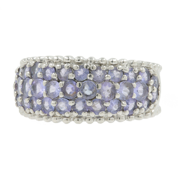 Ladies Vintage Classic Estate 10K White Gold Lite Purple Amethyst Gemstone Ring