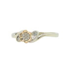 Estate Ladies 10K White Rose Gold Diamond Flower Right Hand Ring