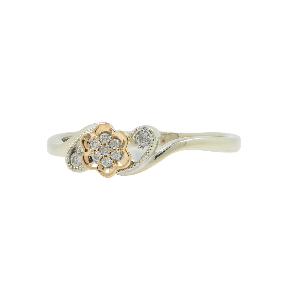 Estate Ladies 10k White Rose Gold Diamond Flower Right Hand Ring Online Pawn Shop Out Of Pawn