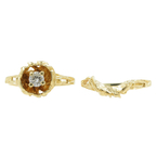 Vintage Classic Estate Ladies 14K Yellow Gold Diamond Rose Ring  0.20CTW