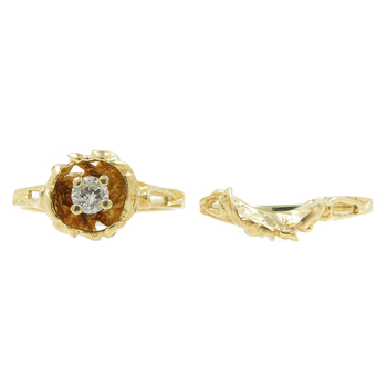 Vintage Classic Estate Ladies 14K Yellow Gold Diamond Rose Ring  0.20CTW