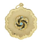 Vintage Estate Ladies 14K Yellow Gold Round Flower 35MM Pendant
