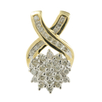 Vintage Estate Ladies 10K Yellow Gold Diamond Bypass Cluster Pendant - 0.58CTW