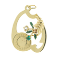 Estate Ladies 14K Yellow Gold Happy Birthday Zirconia Cornucopia Pendant