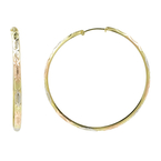 Classic Estate Ladies 14K Tricolor Gold 40MM Hoop Hidden Snap Back Earrings