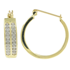 Classic Ladies 10K Yellow Gold Diamond Hoop Saddle Back Earrings - 0.72CTW