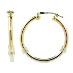 Classic Ladies Estate 14K Tricolor Gold Hoop Saddle Back 35MM Earrings