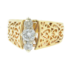 Vintage Classic Estate Ladies 14K Yellow Gold Diamond Filigree Ring - 0.45CTW