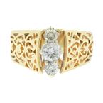 Vintage Classic Estate Ladies 14K Yellow Gold Diamond Filigree Ring - 0.45CTW